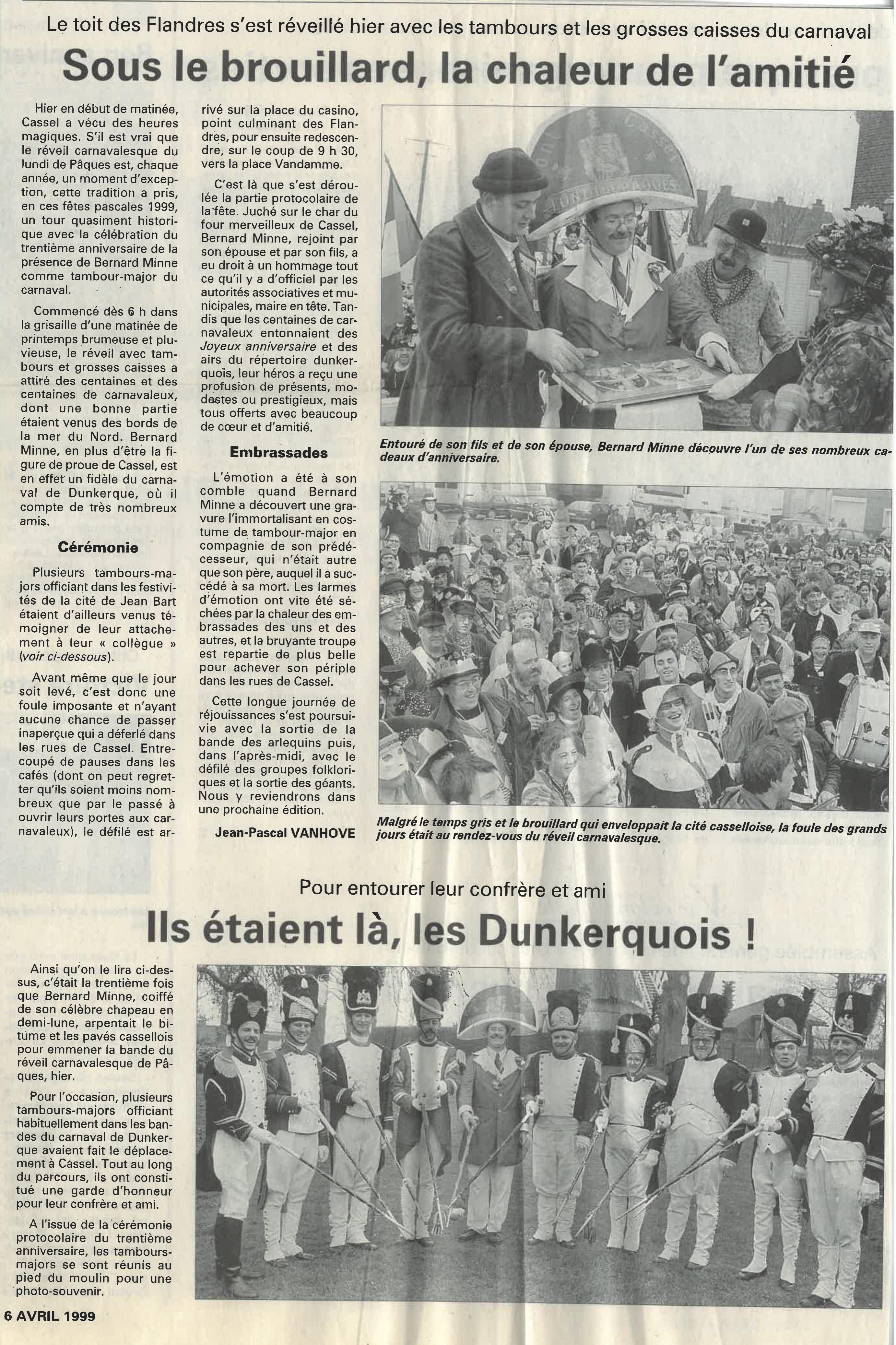 Voix du Nord 30 ans bernard minne 1999 6 avril 1999