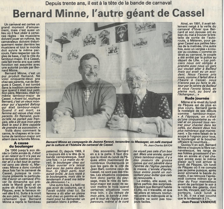 Voix du Nord 30 ans bernard minne avec jeanne Keneut avril 1999