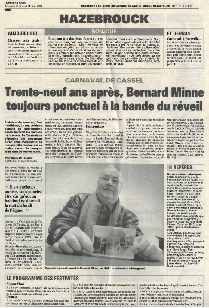 39 ans après Bernard Minne toujours ponctuel Voix du Nord 9 mars 2008